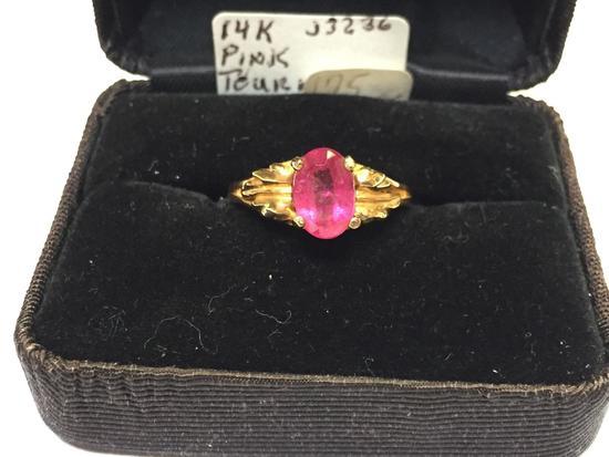 Pink Tourmaline Ring, Size 7, says 14K Gold