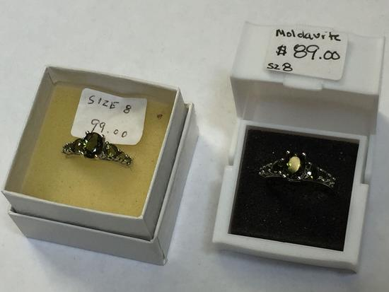 Lot of 2 Rings, says Moldavite, CG 925 Silver, Size 8