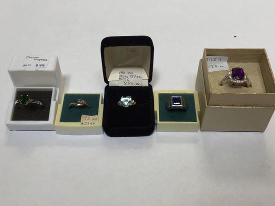 Lot of 5 Rings, Blue Topaz, Chrome Diopside, etc