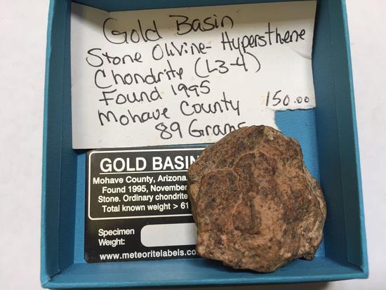 Gold Basin Meteorite Stone Olivine Hypersthene Chondrite 89 Grams
