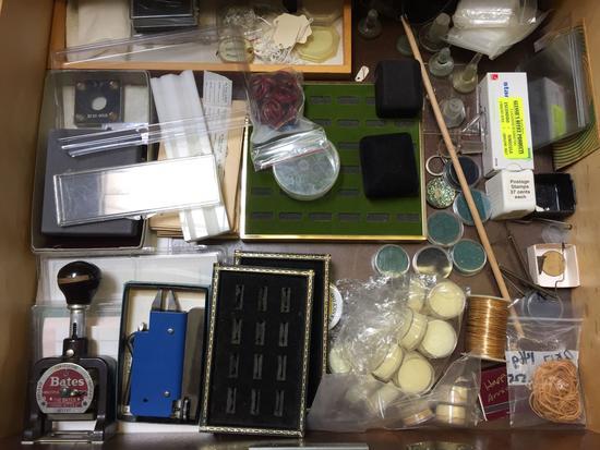 Jewelry Paraphernalia, Spool of Brass, Bates Numbering Machine, etc