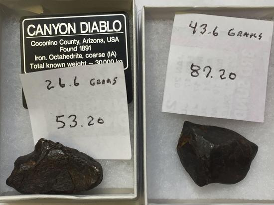 Canyon Diablo Meteorites, Iron Octahedrate, 70 Grams Total