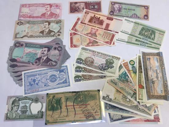 Prohibition Era Spirits Note, Foreign Bills, Iraq, Jamaica, Ghana, etc