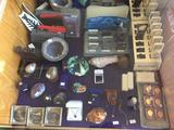 Shelf Contents, Jewelry, Geodes, Medals, Stones, Shells, Jewelers Loops, etc