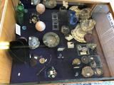 Shelf Contents, Shells, Geodes, Jewelry, and More