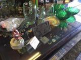 Shelf Contents, Bacon Press, Porcelain Bird, Carnival Glass, Glassware, etc