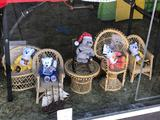 Lot of Wicker Chairs and Stuffed Bears, Wooden Boat