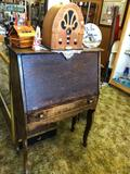 Vintage 4ft Tall Desk with Contents, Philco 95th Anniversary Radio, and more