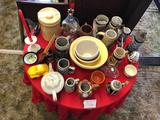 Table of Ceramic Mugs, Bowls, and more