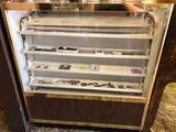 Electric Glass Cabinet with Powered Rotating Shelves With Contents