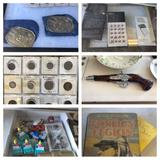 Shelf Contents, Glass Pistol, Interesting Coins, Mini-Safe, Steins, More