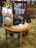 Half Circle Table With Contents, Patron Tequila Case, More
