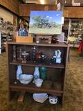 3ft Tall Wood and Glass Display Cabinet, Contents Included