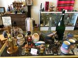 Shelf Contents, Gem Jewelry, Totem S&P Shakers, Beautiful Pottery, Wooden and Glass Decor