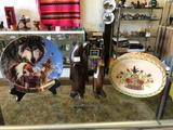 Shelf Contents, Wood Penguins, Indian Plate, Rounded Box