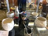 Shelf Contents, Ceramic Candle Holders, Ceramic McCoy Figure