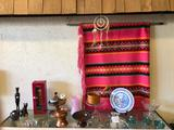 Shelf Contents, Waterford Crystal Knife Rests, Indian Blanket & Dreamcatcher, more