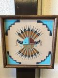 Navajo Indian Sand Painting Wall Art 13x13 Inches