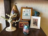 Lot of Framed Pictures, Pottery, Lenox Ceramic, Indian Cigar Box
