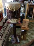 Lot of Stuff - Indian Doll, Makeshift Drum, Wooden Square Stand, Bunnies