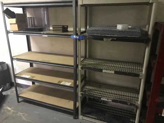 Metal and Plastic Shelving With Contents 2 Units