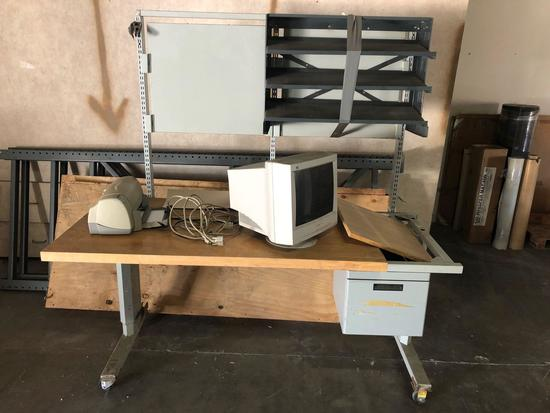 Large Rolling Table w/ Shelf, Contents Included, 6.5 ft Tall