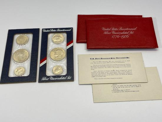 U.S. Mint Bicentennial Silver Uncirculated Set 1776-1976, 2 Sets of Coins, Eisenhower Dollar, etc
