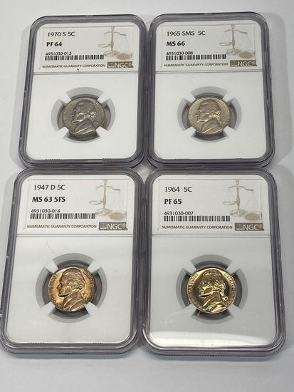 U.S. 5 Cent Nickels, Set of 4 NGC Graded Coins
