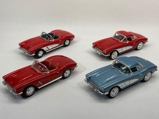 Ertl, Mira, 1:18 Scale Diecast 1953, 1961, 1962 Chevrolet Corvette Cars, 4 Units