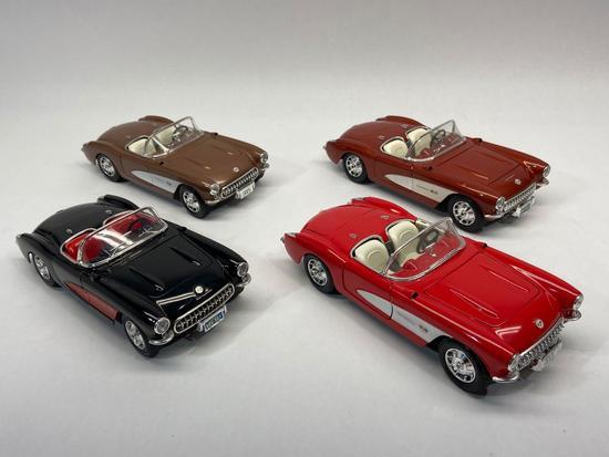 Bburago, Road Legends, Road Tough, 1:18 Scale Diecast 1957 Chevrolet Corvette Cars, 4 Units