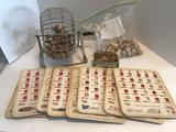 Vintage Bingo Lot Wood Balls Chips Wheel Cards
