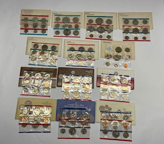Collection of 13 United States Mint Uncirculated P & D Coin Sets 1970-1992 in Original Packaging