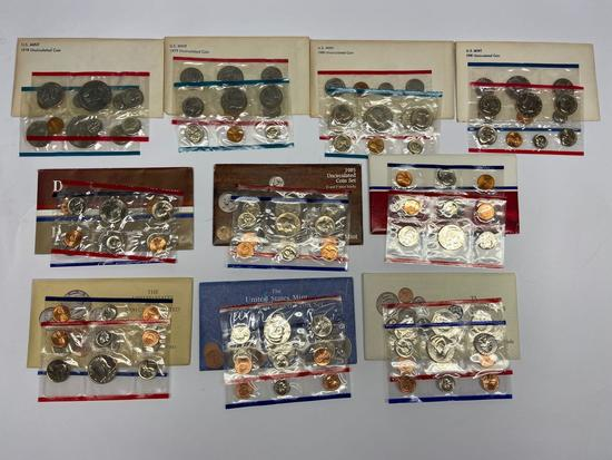 Collection of 10 United States Mint Uncirculated P & D Coin Sets 1978-1992 in Original Packaging