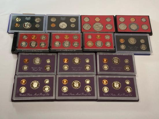 Collection of 14 United States Mint Proof Sets of Coins 1968-1992 in Original Packaging