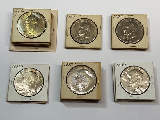 Collection of 24 Eisenhower Dollar Coins 1971-78