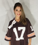 Signed Cleveland Browns Football Jersey XL w/ COA says Global Authentics, Brian Sipe 17