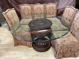Glass Top Table 4.5ft Wide, 31in Tall, with 6 Chairs