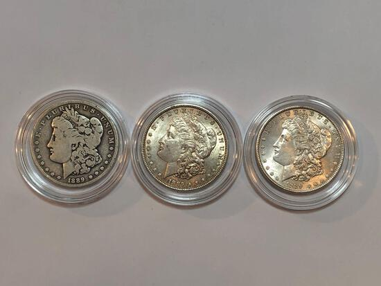 3 U.S. 1889 Morgan Silver Dollars