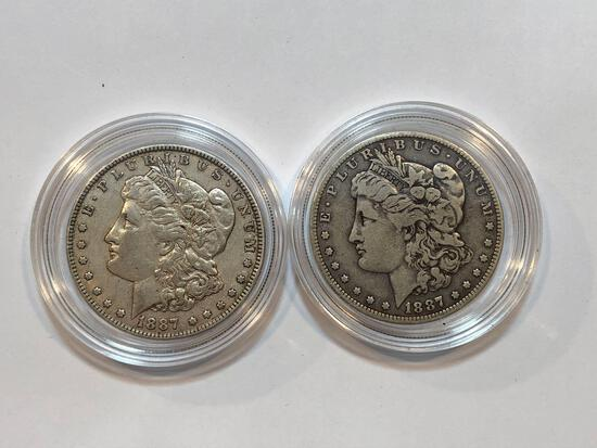 2 U.S. 1887 Morgan Silver Dollars