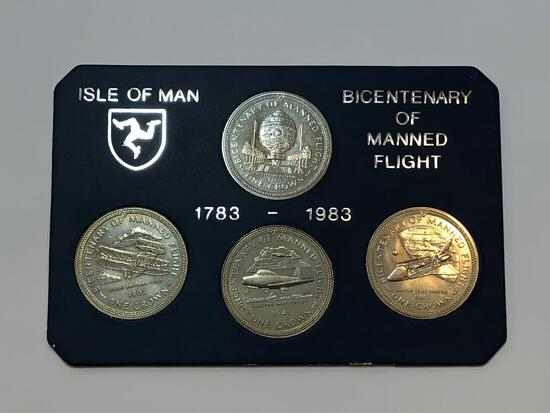 Bicentenary of Manned Flight 1783-1983 Isle of Man Coins