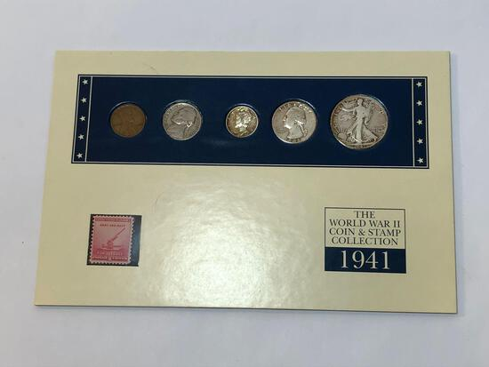 WWII Coin & Stamp Collection w/ CoA