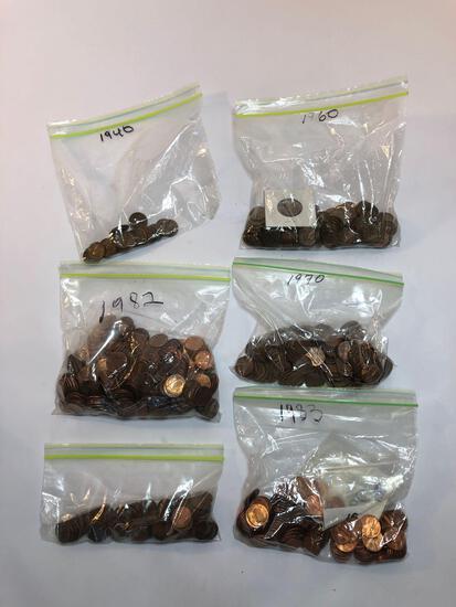 Bags of Pennies, weighs 5 lbs