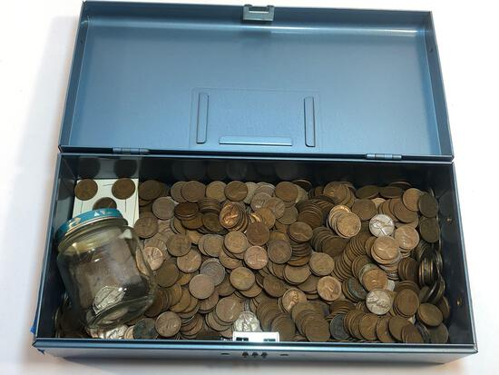 Lockbox Of Pennies & Coins