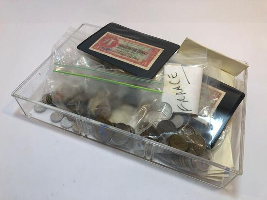 Tray of Assorted Coins France Ireland Panama Germany