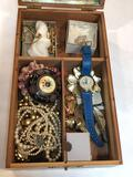 Wooden Mirror Box of Costume Jewelry