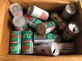 Box of Vintage Cans, 7-Up, Beer Cans, etc
