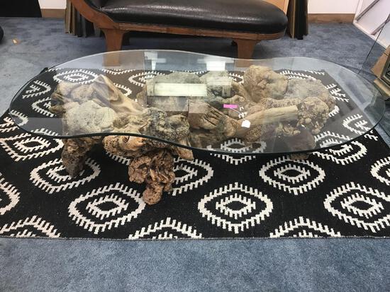 Glass Top Burl Table