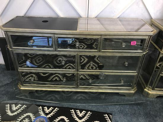 Glass Top Mirrored 7 Drawer Dresser