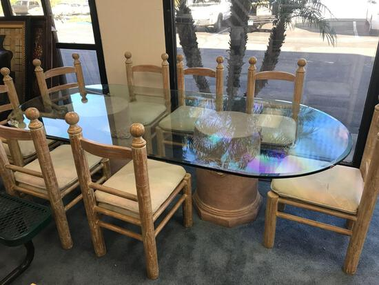 Glass Dining Room Table 8 Chairs
