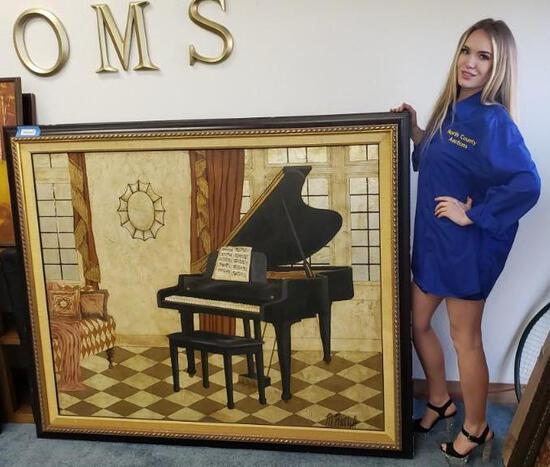 Large Framed Piano Painting M. Ratlitt